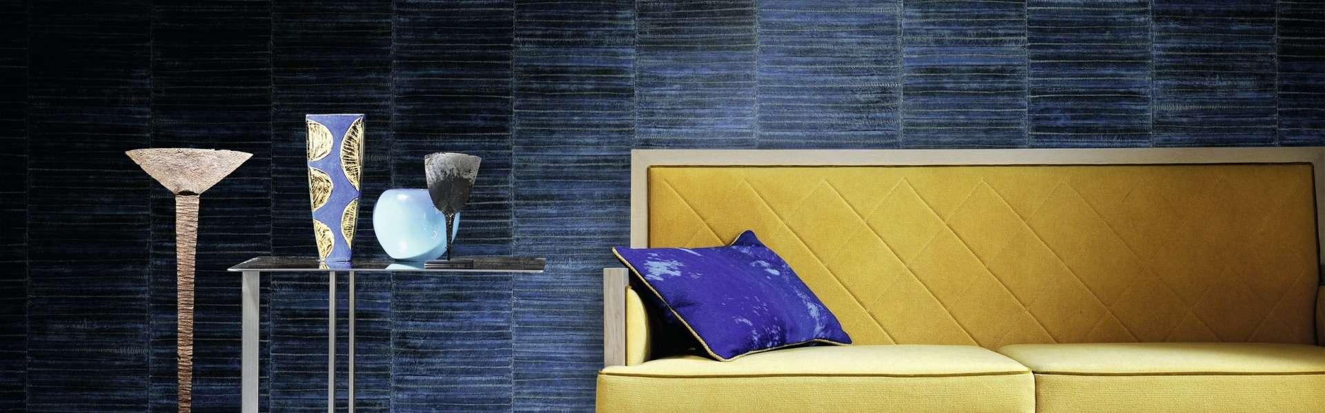 Bild Tapete blau Wohnzimmer